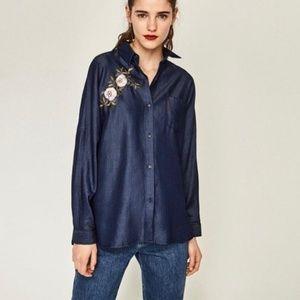 Zara Embroided Oversized Denim Shirt